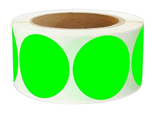 2 Inch Round Color - Code Dot Labels | Fluorescent Color Coding Colored Labels | 500 Permanent Adhesive Colored Circle Stickers Per Roll for Moving/Storage/ Organizing/Color Coding/Arts (Green)