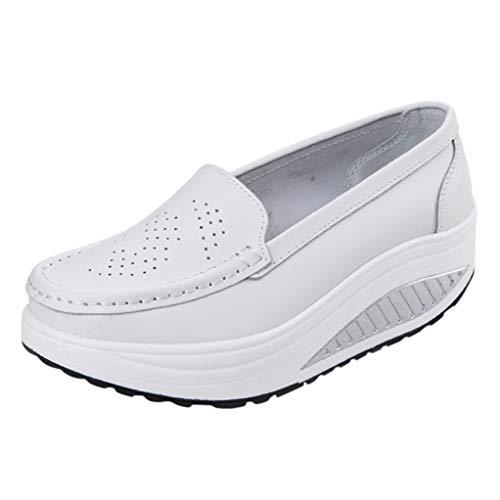 Zapatos De Cuña De Plataforma para Mujer Mocasines Transpirables Sin Cordones Zapatos De Oscilación Casuales Zapatillas De Deporte De Punta Redonda Zapatillas De Trabajo De Boca Baja
