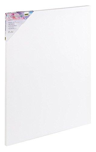 Idena 60006 Keilrahmen mit Leinwand aus 100% Baumwolle, 380 g/m², für Ölund Acrylfarben, 60 x 80 cm, weiß