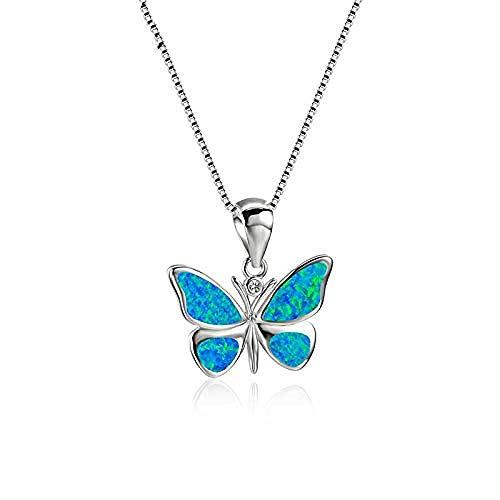 PPQKKYD Collar Lindo Animal Mariposa Colgante Azul Blanco Fuego ópalo Collar Mujeres Color Plata Arco Iris Piedra Boda Collar joyería