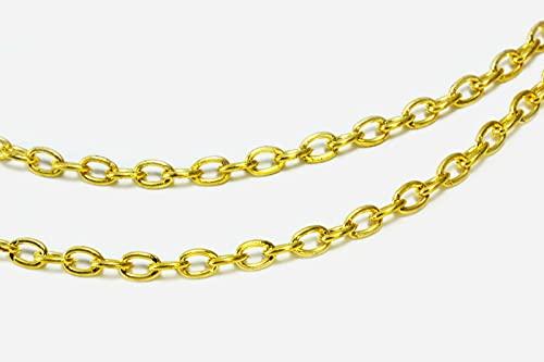 Cadena de metal Inwaria 3 x 4 mm, cadena de eslabones, MK-88/3_5 m (color dorado)