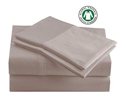 "Casa Platino 100% Organic Cotton Sheets Set, Pure Organic Cotton Long- Staple Percale Weave Ultra Soft Best- Bedding Sheets for Bed, GOTS Certified, Fits Mattress Upto 17"" Deep Pocket (King, Taupe)"