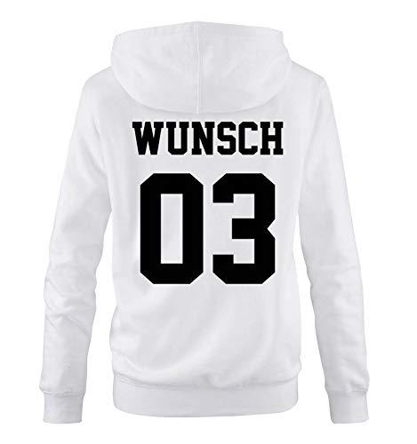 Comedy Shirts - Wunsch - Damen Hoodie - Weiss/Schwarz - Gr. L