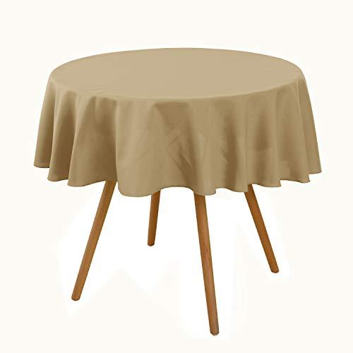 Deconovo Rund Tischdecke Tischwäsche Tischtücher Wasserabweisend 140 cm Dunkelbraun