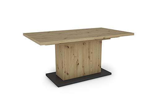 HOMEXPERTS Esszimmertisch AIKO / Eiche-Optik braun / großer Auszugstisch 160 cm bis 200 cm / Säulentisch mit Ausziehfunktion / Tisch mit Synchronauszug und Einlegeplatte / 160-200 x 90, H 75 cm
