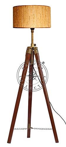 Hanzla Collection Lámpara de pie trípode de madera antigua retro vintage decoración para el hogar y la oficina Iluminación