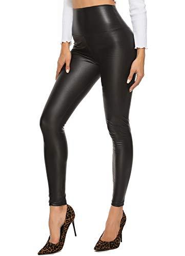 STARBILD Pantalones PU Leggings Cuero Skinny Sexy Elástico para Mujer A-Negro Mate M