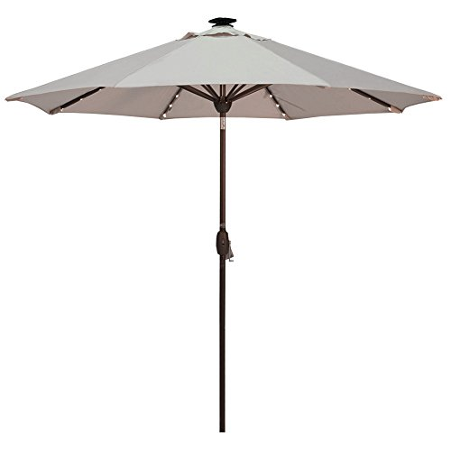 Solar Powered 9 ft Patio Umbrella with 64 LED Lights Market Outdoor Umbrella with Tilt&Crank&Umbrella Cover, for Garden, Lawn, Deck, Backyard & Pool, Beige