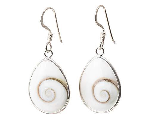 Ohrringe aus 925er-Sterlingsilber, Shiva-Auge, Stein der Heiligen Lucia, Silberohrringe für Damen, handgefertigt, Mittelmeer-Schmuck, Tropfenform, oval