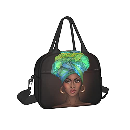 Insulated Lunch Bag Lunch Tote Reusable Cooler Bag Container with Adjustable Shoulder Strap for Work School Picnic Camping-African Woman Dancing With Earring 14