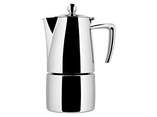 Ilsa Slancio Glänzende Kaffeemaschine, mit Induktionsboden, Edelstahl, Silber, für 6 Tassen