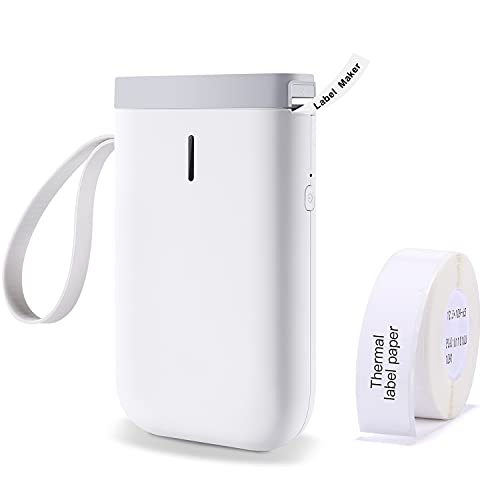 Impresora de Etiquetas Etiquetadora Adhesiva Bluetooth Mini Portátil Máquina de Etiquetas Térmicas D11 Label Maker Compatible con iOS Android Smartphone Adecuado para Organización (Blanco)