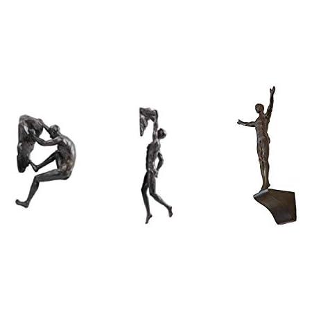 Haute Collage Bronze Rock Climbers Conjunto de 3 Figuras Figuras de Escalada en Pared Trío Hombres x3 Esculturas Estatua de Resina de Poli Adornos ...