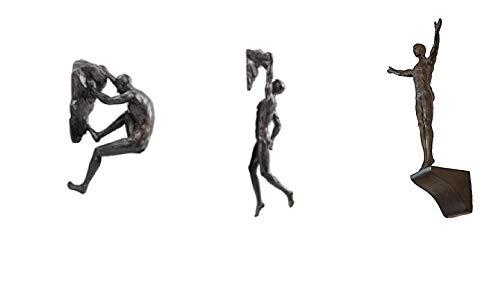 Haute Collage Bronze Kletterer Set von 3 Figuren Wand Klettern Trio Männer x3 Skulpturen Poly Resin Statue Große Ornamente Wandkunst