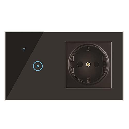 Andifany 1 Gang Interruptor Inteligente + Enchufe WiFi Interruptor de Pared para el Hogar Inteligente Interruptor de PresióN EstáNdar de la UE para Home Alexa Life APP