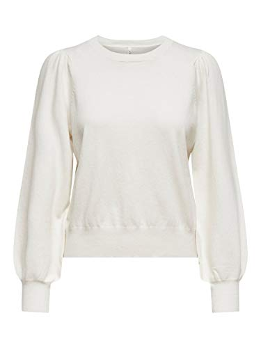 Only ONLALEXA Puff L/S Pullover Knt Noos Maglione, Cloud Dancer, XS Donna
