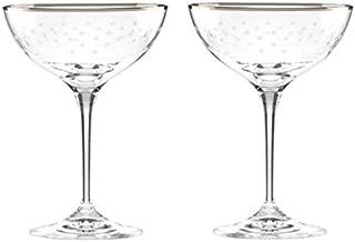 Kate Spade New York Sadie Street Crystal Champagne Saucers Set Of 2 Glasses by Lenox
