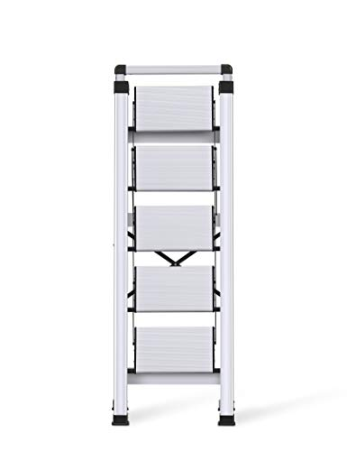 Xinsunho Retractable Handgrip 5 Step Ladder Safety Wide Pedal Step Stool Aluminum 300lbs Capacity Slim Design Ladder
