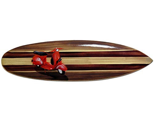 Tabla de surf de madera hecha a mano con suspensión en la parte trasera. Diseño aerógrafo brillante. Longitud: aprox. 80 cm, ancho: 20 cm aprox.
