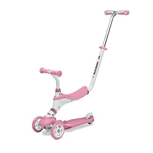 Mondo On&Go – Patinete para niños 5 en 1 – Patinete con Asiento, Pedales de Goma Suave y Grande Scooter de 3 Ruedas para niños – Edad de 1 a 5 años   MAX 50 kg – Color Rosa – 28575