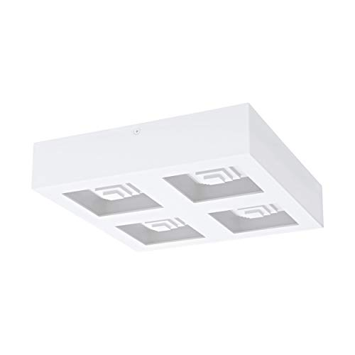 EGLO Lámpara LED de techo Ferreros, 4 focos, lámpara de techo para salón, cocina, de acero y plástico, color blanco
