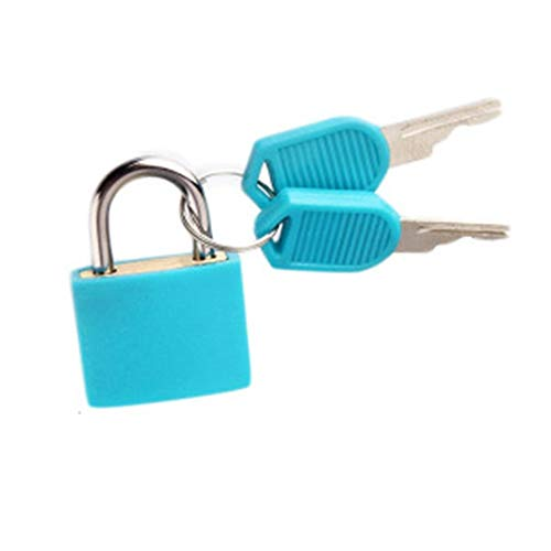 JYSLI Install Cute New Small 4 colors Coated Brass Locks for Travel Luggage Bag Backpack Zipper Suitcase Padlocks with Keys Hardware Tool design (Color : Blue)