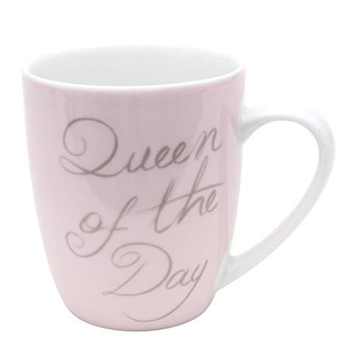 Dekohelden24 Kaffeebecher/Tasse aus Porzellan, Motiv: Queen of The Day. Größe H/Ø: 9,8 x 8,2 cm, Fassungsvermögen 250 ml, Spülmaschinengeeignet.