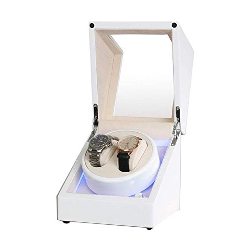 CCAN White Double Watch Winder Box for Automatic Watch Built-in LED Light Piano Paint Exterior Dual Power Supply Quiet Motor