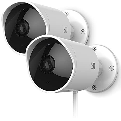 YI Telecamera Outdoor 1080P Kit da 2,Telecamera WiFi Esterno Compatibile con Alexa,Impermeabile IP65 con Sirena Integrata,Visione Notturna a infrasossi,Rilevamento Movimento con Notifiche Push Reale