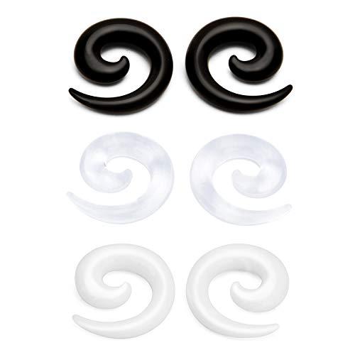 3 Pare (Negro/Blanco/Claro) Acrílico Dilatacion Oreja Taper Spiral Coil Piercing Joyería Ear Gauge Ear Plugs Stretching Expander Stretcher Oreja