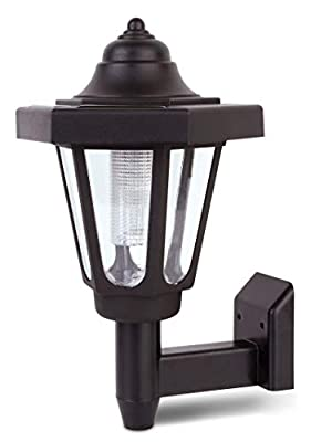 Solar Outdoor Wall Lantern Light - Decorative Wireless Water Resistant LED Mounted Sun Powered Lighting for Security at Home Porch Patio Deck Yard Entryway Driveway