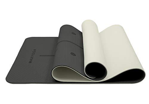 MAXYOGA Esterilla Yoga con Sistema de Alineación Grabadas a Láser. Tamaño Grande 183cm x 66cm x 6mm. Colchoneta Yoga Mat Antideslizante y Ligera de Material Ecológico TPE. Negro/Gris