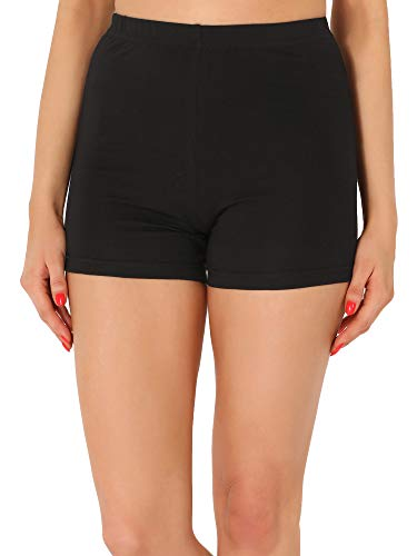 Merry Style Damen Shorts Radlerhose Unterhose Hotpants kurze Hose Boxershorts aus Viskose MS10-391 (Schwarz,S)
