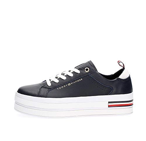 Tommy Hilfiger Damen Corporate Flatform Sneaker, Blau (Desert Sky Dw5), 39 EU