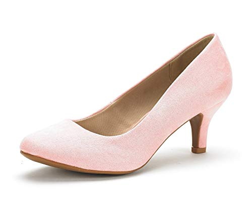 DREAM PAIRS Womens Slip On Low Kitten Heels Round Toe Pump Court Shoes Luvly Pink Suede Size 10 US/ 8 UK