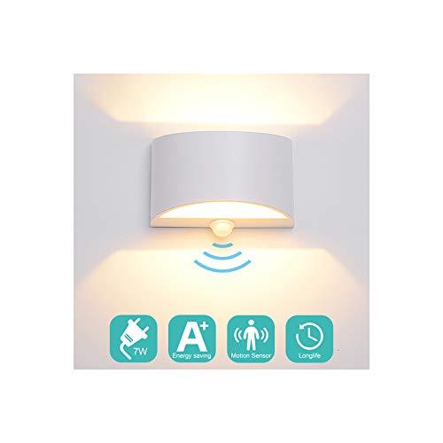Midore LED Wandleuchte mit Bewegungsmelder Innen 7W Modern Up Down Wandlampe Aluminum Wandbeleuchtung für Wohnzimmer Schlafzimmer Treppenhaus Flur