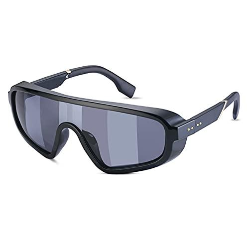 Gafas de sol de pantalla plana con protección superior Hombres Mujeres Gafas de una pieza de gran tamaño