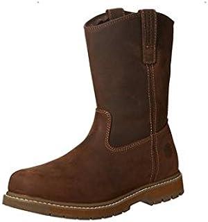 حذاء عمل جلدي كلاسيكي ناعم عند الأصابع ويلي من موك بوتس، عرض متوسط