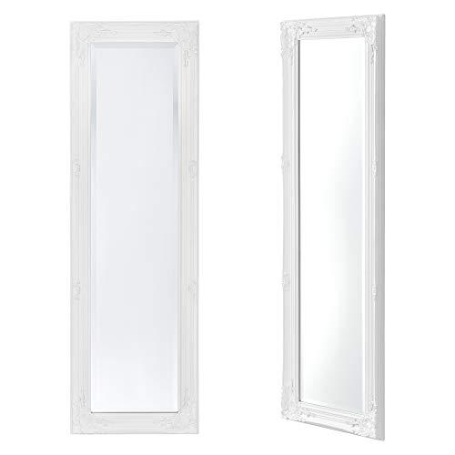 Miroir Mural de Grande Taille pour Se Voir en Entier Cadre Style Baroque Montage Vertical ou Horizontal Eucalyptus 132 x 42 x 3,5 cm Blanc