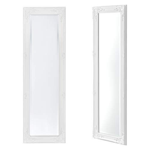 [en.casa] Espejo de Pared Cuerpo Entero Livorno 132 x 42 x 3,5 cm Marco de Madera de Eucalipto Decoración de Salón Recibidor Dormitorio Blanco