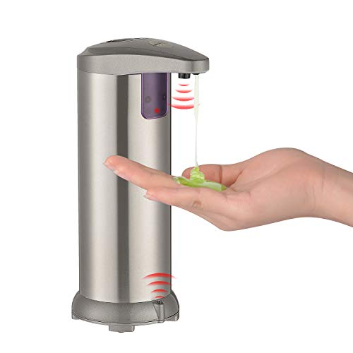 Hivexagon Seifenspender Automatisch, Kontaktloser Flüssigseifenspender aus Edelstahl für die Hotelküche mit automatischem Sensor und wasserdichter Basis 250 ml (8,5 Unzen)