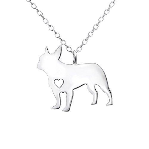 Monkimau Collar para mujer con colgante de bulldog de plata de ley 925 auténtica con cadena de 45 cm