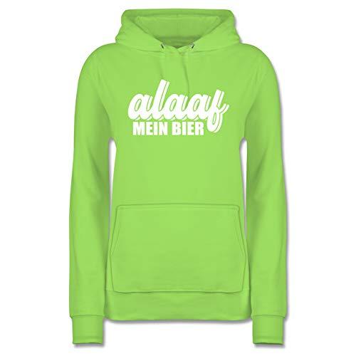 Karneval & Fasching - Alaaf Mein Bier - weiß - L - Limonengrün - Geschenk - JH001F - Damen Hoodie und Kapuzenpullover für Frauen