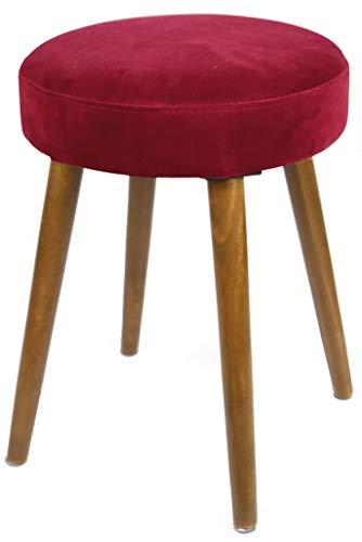 Miroytengo Taburete Glam Asiento Color Rojo Terciopelo Pata Madera Dormitorio vestidor salón 49x36 cm