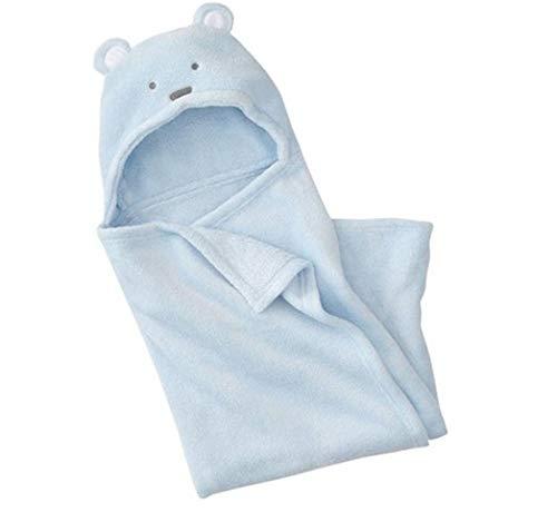 reine à la mode-Peignoir de bain à capuche pour bébé, à motif nounour ourson (Bleu)