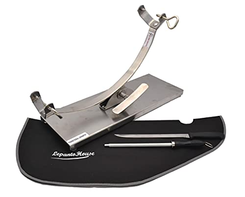 Jamonero balancin, soporte jamonero basculante de acero inoxidable + set de corte con cuchillo...