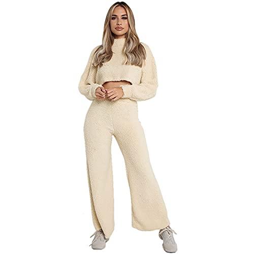 Conjunto casual de 2 piezas para mujer, conjunto de suéter, color sólido, cuello alto, manga larga, pantalones largos, trajes casuales, albaricoque, S