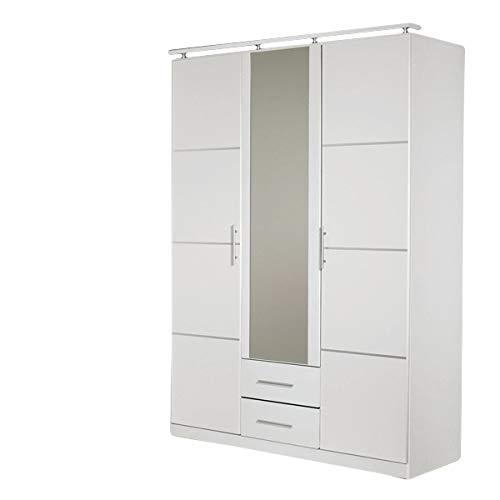 Kleiderschrank Devin weiß 3 Türen B 136 cm Schrank Drehtürenschrank Wäscheschrank Spiegelschrank Kinderzimmer Jugendzimmer Schlafzimmer