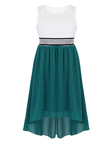 Ovender/® 2 Abito da Cerimonia Verde Turchese Donna in Chiffon Damigella da Festa Party Lungo Elegante Floreale