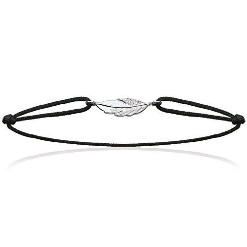 Les Plaisirs de Stella - Pulsera en plata 925/000; cordón algodón negro ajustable, diseño de pluma